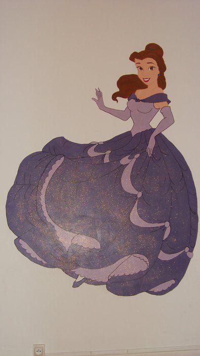 Peinture sur mur princesse belle for Dessin sur mur peinture