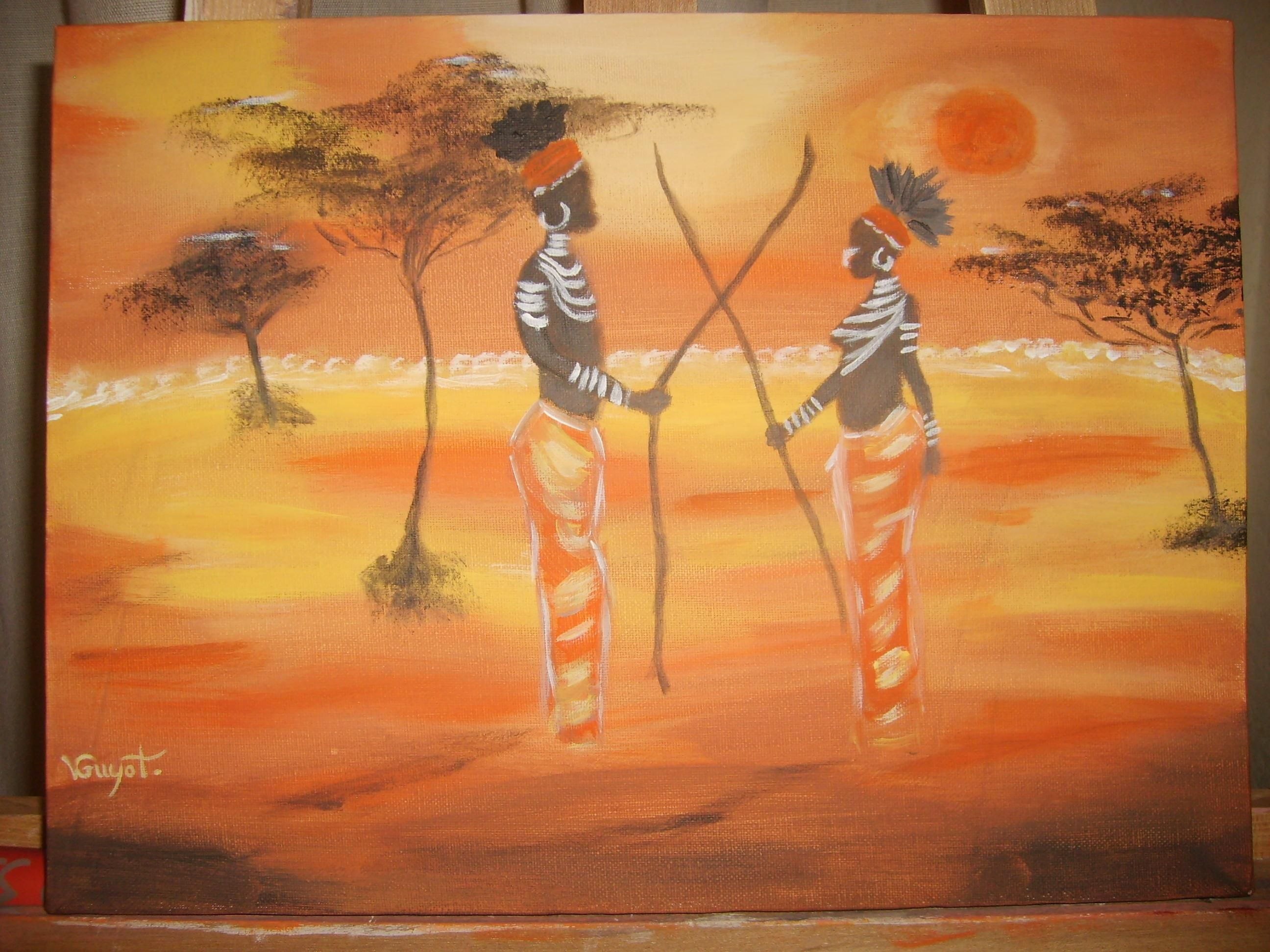 tableau africain jaune