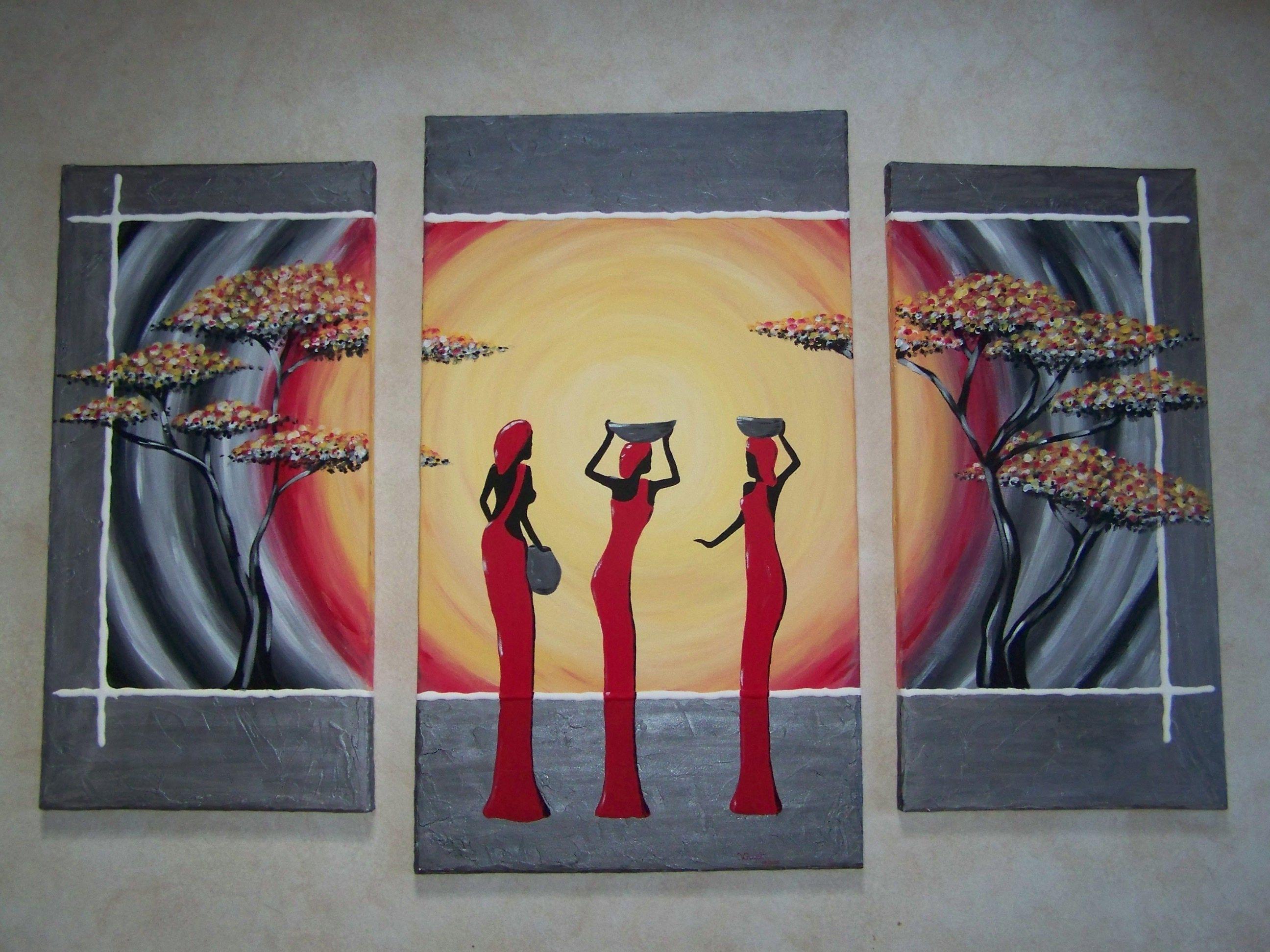 Triptyque tableau africain - Peinture acrylique triptyque ...