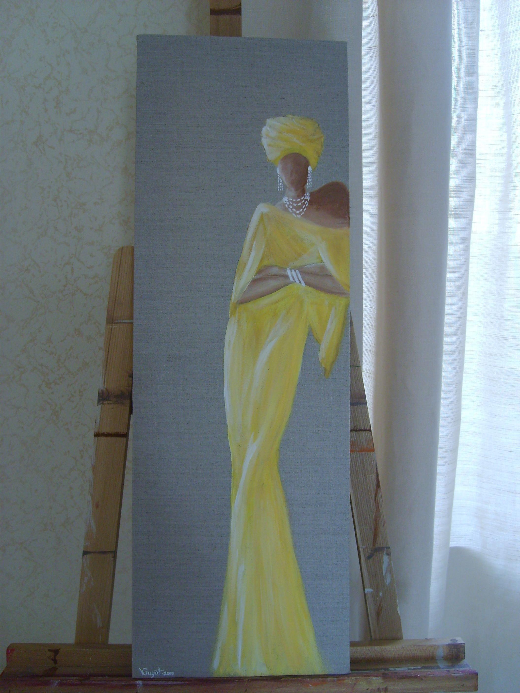 tableau femme africaine habill e de jaune. Black Bedroom Furniture Sets. Home Design Ideas